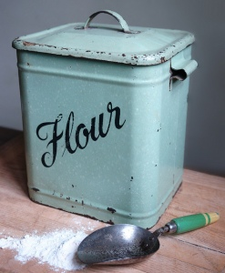 vintage enamel flour container and scoop