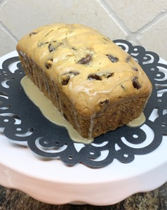 chocolate chip bread with coffee glaze