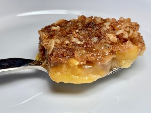 The perfect bite of peach crisp