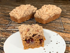 cranberry pumpkin breads with streusel