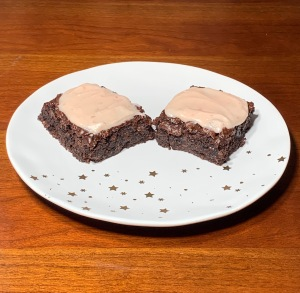 almond butter brownies with strawberry frosting
